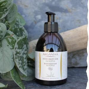 Savon liquide noir bio Argan Eucalyptus Homme Argandia
