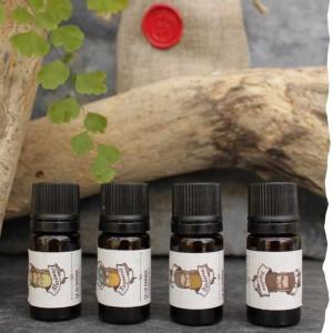 Pack découverte de 4 huiles pour barbe Bio ça va barber : à la Régulière, à la Bûcheron, à la Ragnarök, à la Maximus