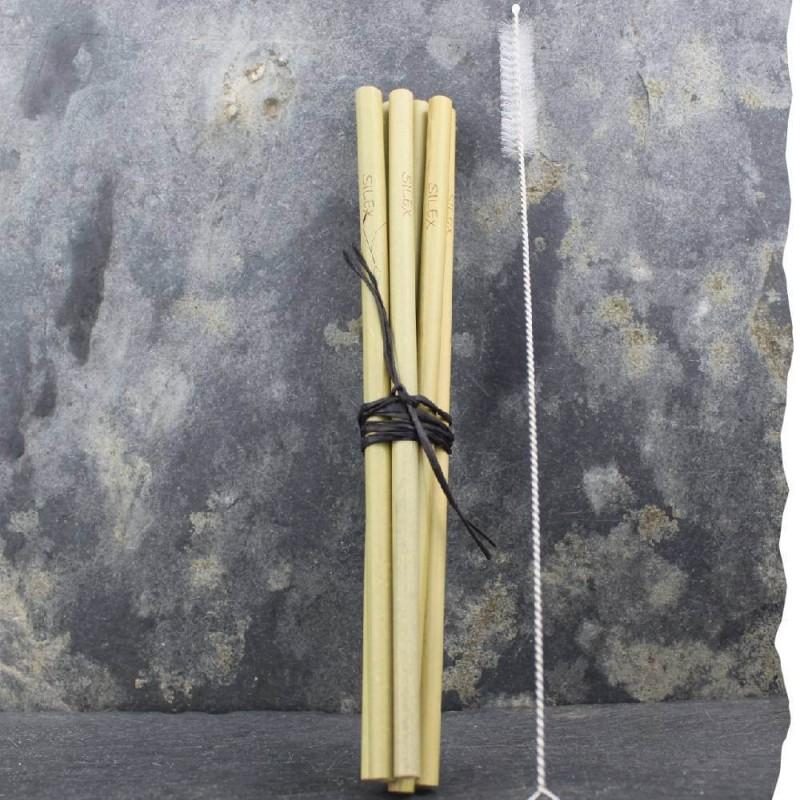 Lot de 6 pailles SILEX en bambou et leur goupillon