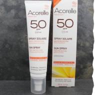 Spray de protection solaire SPF50 bio acorelle sans effet blanc