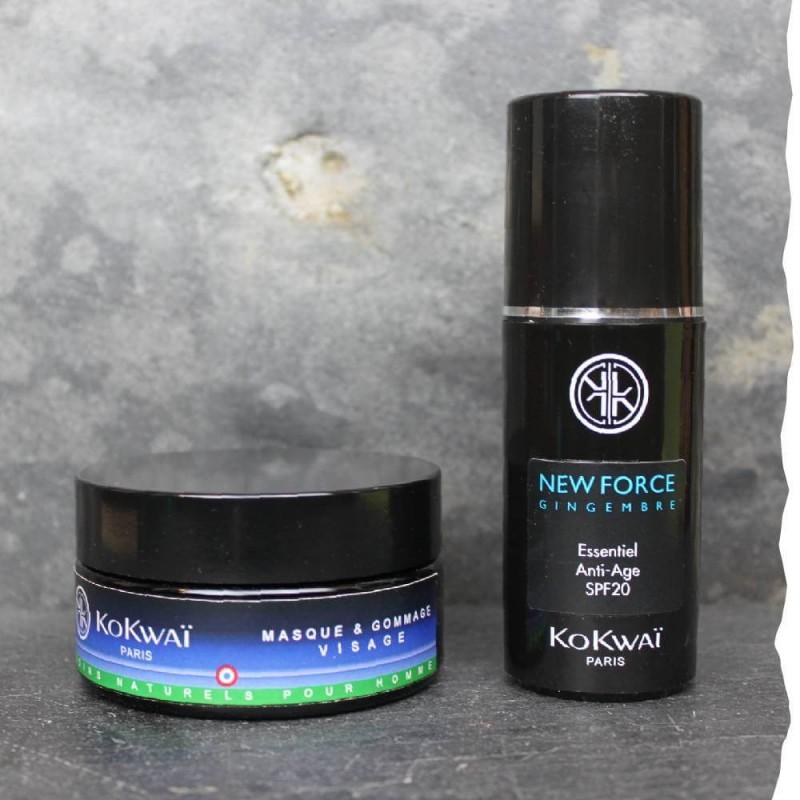 Coffret cadeau soins visage bio pour homme L'expressif n°1 Kokwai Masque et hydratant visage bio anti-âge
