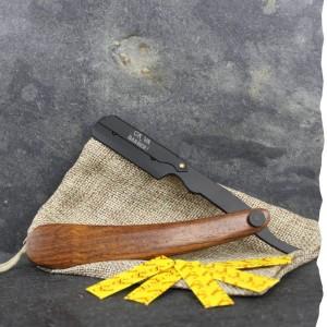 Shavette ça va barber. Rasoir de barbier zéro déchet avec un manche en résine bois pour un rasage durable.
