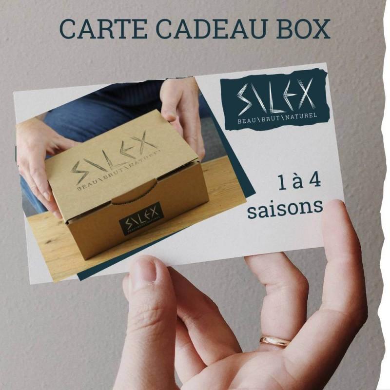 Offrez une carte cadeau Box silex pour homme, 5 produits bio et fabriqués en France. 1 à 4 saisons