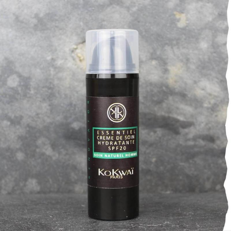 Crème de soin bio hydratante jour / nuit  visage 50ml Kokwaï spf20 homme. Fabriquée en France.