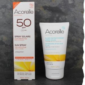 crème de protection solaire indice 50 bio et lait apaisant solaire bio Acorelle Fabrication française