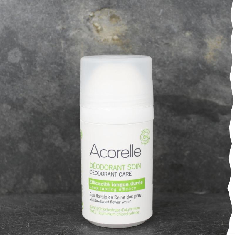 Déodorant roll-on efficacité longue durée bio pour homme Acorelle. Fabriqué en France