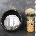Coffret cadeau homme L'expérimental n°2 : bol à barbe artisanal, savon de rasage bio et blaireau de rasage en poils synthétiques