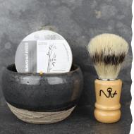 Coffret cadeau homme L'expérimental n°2 : bol à barbe artisanal, savon à barbe bio et blaireau de rasage en poils synthétiques