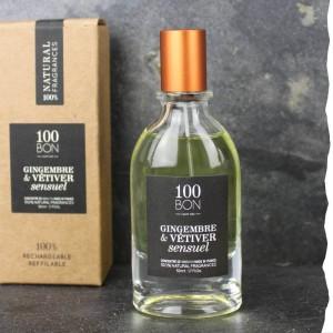 Parfum concentré Gingembre Vetiver Sensuel concentré 100BON 50ml. Fabriqué en France