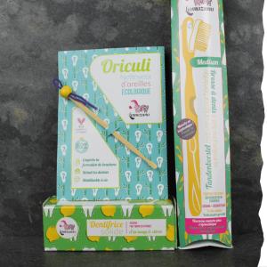 Lamazuna Coffret cadeau Zéro déchet avec dentifrice solide, oriculi, brosse à dents en bioplastique à tête rechargeable