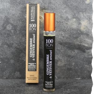 Parfum concentré Gingembre Vetiver Sensuel concentré 100BON 15ml. Fabriqué en France