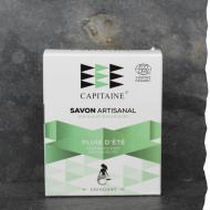 Savon 100% naturel surgras saponifié à froid bio tonifiant 100g Ô Capitaine fabriqué en Bretagne - Pluie d'été