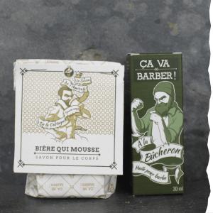 Coffret cadeau pour barbu bio : huile à barbe bio et savon surgras bio ça va barber