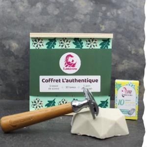 Coffret cadeau pour un rasage écolo : rasoir de sûreté, savon de rasage et lames - Made in France - Lamazuna