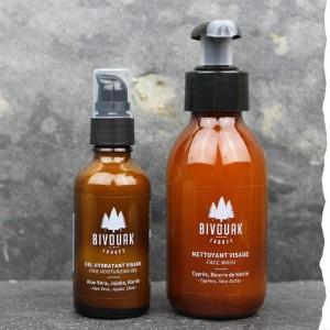 Coffret bio pour le visage homme de Bivouak : gel nettoyant visage bio et fluide hydratant visage bio - Made in France