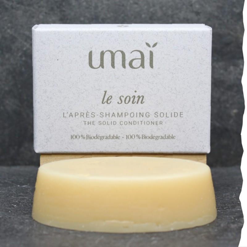 Soin Après-shampoing solide - Umaï - 40g - Fabriqué en France - Ultra doux et réparateur - Grande qualité - 100% naturel
