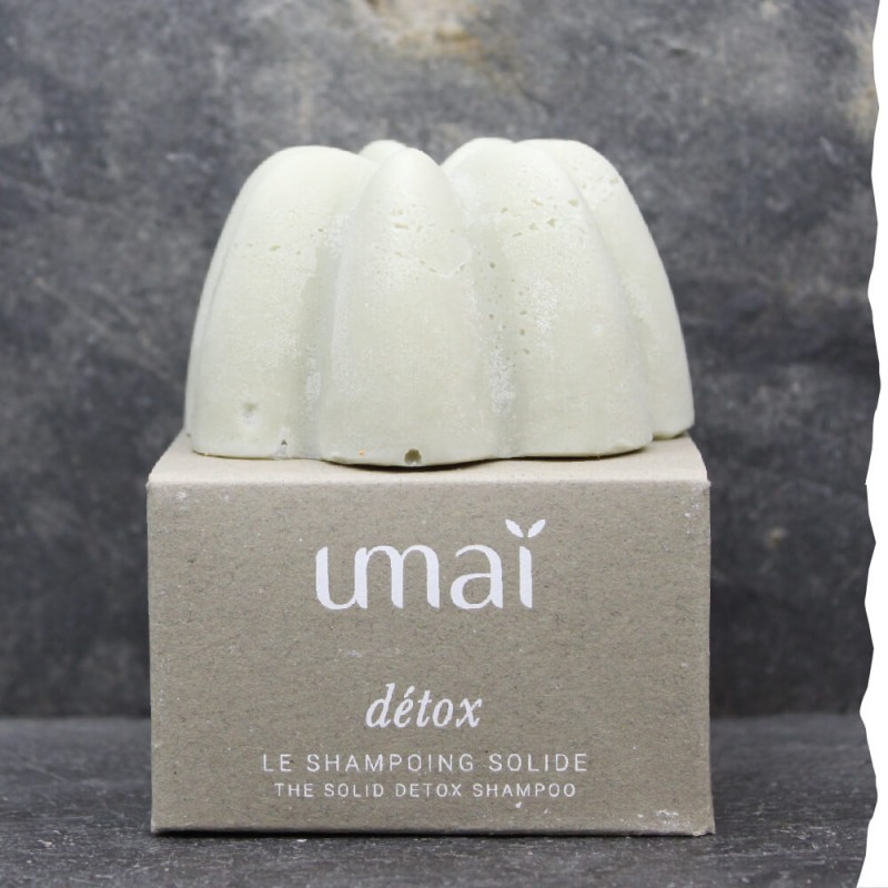 Shampoing solide naturel Detox Umaï. Fabriqué en France. Tous types de cheveux. Ecoresponsable et biodégradable. 100% naturel
