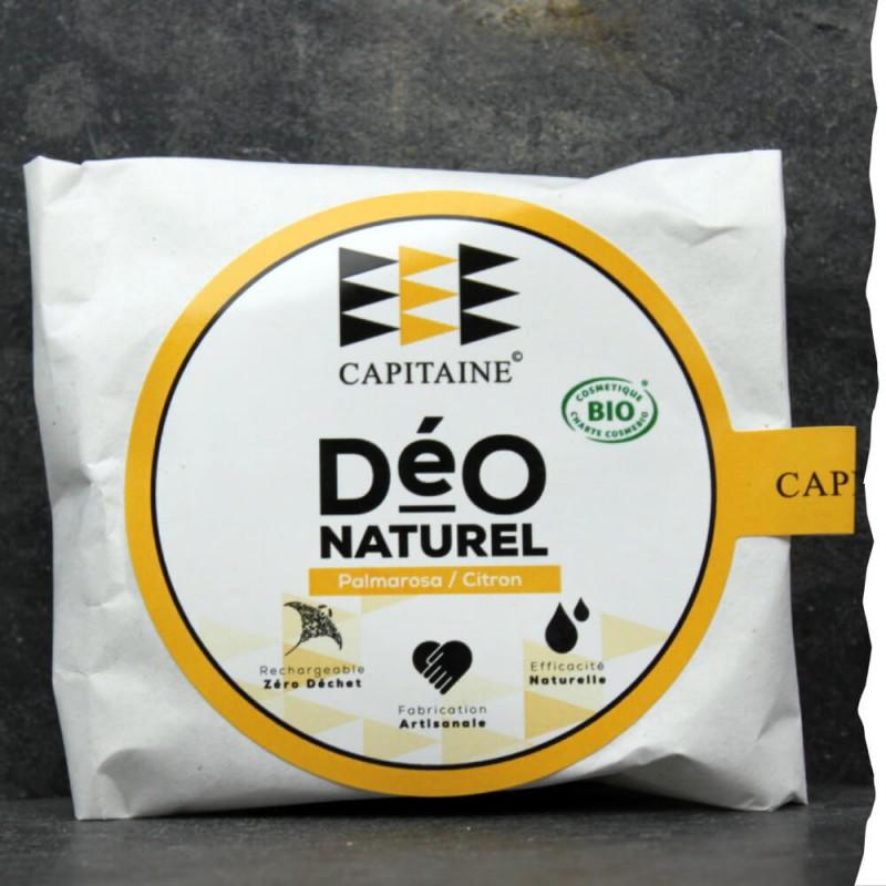Déodorant solide Bio pour homme - Citron Palmarosa - Galet rechargeable - Made in France, Bretagne