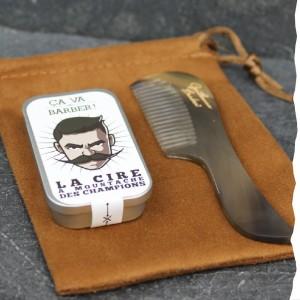 Coffret cadeau bio pour homme moustachu : cire à moustache Bio et peigne à moustache en corne