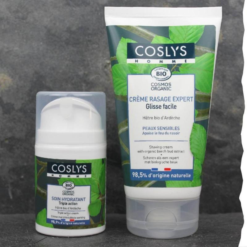 Coffret cadeau rasage peau sensible, fabriqué en France - Coslys - Bio