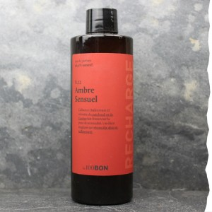 Parfum naturel pour homme 100BON - Ambre sensuel - Recharge en verre - 200ml - Fabrication française - Ecolo et économique