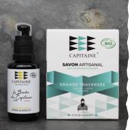 Cadeau Bio pour homme - Savon Bio et huile barbe Bio - Ô capitaine - fabrication artisanale en Bretagne